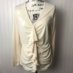 American Living Ivory V-Neck Ruffle Gathered Shirt
